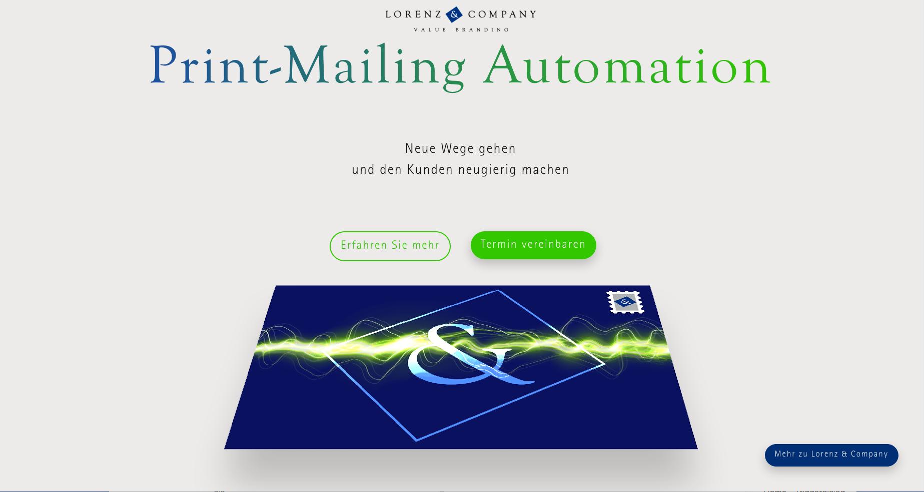 Als eine der ersten Kreativagentur kooperiert Lorenz & Company mit der Deutschen Post beim Print-Mailing-Automation.
