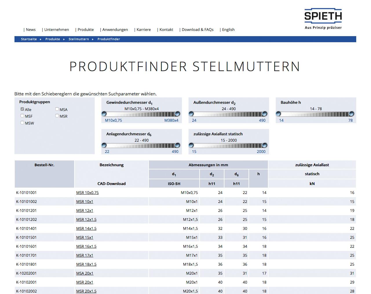 Lorenz & Company hat die neue Webseite des Kunden Spieth-Maschinenelemente mit interessanten Facetten bereichert.