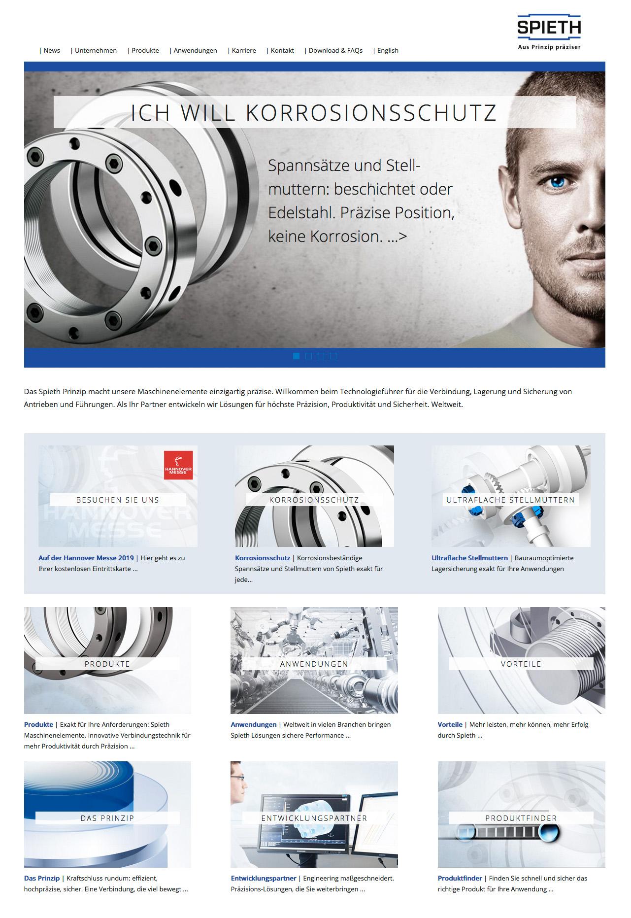 Für den Kunden Spieth-Maschinenelemente hat Lorenz & Company die neue Webseite erstellt.